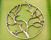 4 silver branches charms pendants circle branch mystical nature spirit tree of life 44mm x 40mm double-sided - C0546-4