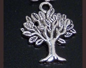 10 silver bronze tree of life charms pendants branches branch leaves leaf nature mother earth 22mm x 17mm  - C0251-10