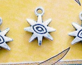 5 silver Sun star evil eye charms pendants spiritual third eyes mystic mystical witch Gods Free Combined Shipping 15mm x 12mm - C0196-5