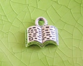 5 silver book charms pendants literary tiny reading read library text school study college fairytale storybook 12mm x 11mm- C0689-5