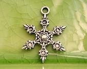 5 silver snowflake charms pendants Christmas winter holiday vacation snow ball flake crystal star 23mm x 17mm - C0932-5