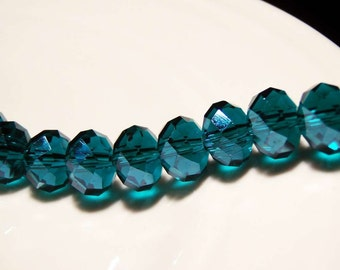 10 pcs 10mm x 7mm Blue Zircon Teal glass crystal rondelle beads - C0036-10