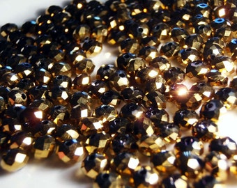 20 gold metallic faceted glass crystal rondelle beads 6mm x 4mm - bulk - C0057-20