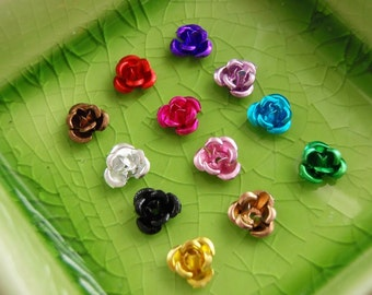 100 aluminum roses flower cabochon beads charm multi colored 6mm  Free Combined Shipping - Bulk - C0272-100