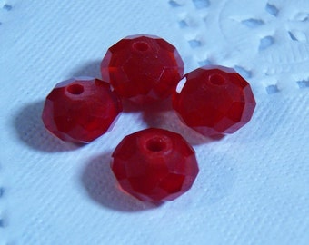 10 pcs 8mm x 6mm bright candy apple red opaque glass crystal rondelle beads vampire blood - Bulk - C0291-10