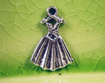 10 silver princess dress charms pendants maiden fairytale storybook dresses gown corset 19mm x 13mm - C0329-10