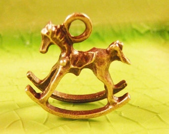 4 bronze rocking horse 3d charms pendants child children baby pony fantasy fairytale 16mm x 16mm - C0368-4