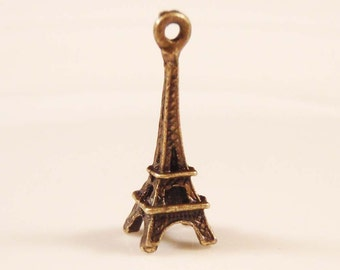 5 bronze 3d Eiffel tower charms pendants Paris France French monument  24mm x 8mm - C0383-5