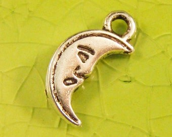5 silver moon charms pendants tiny crescent man nursery rhymes summer planet astronomy mystical 14mm x 7mm  Free Combined Shipping- C0398-5