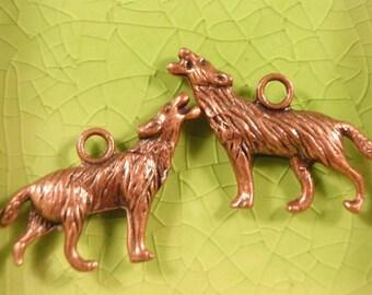 10 copper wolf charms pendants werewolf wolves true vampire blood diaries shifter were animal monster dog Halloween 26mm x 18mm - C0436-10