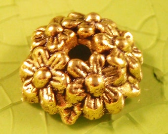 10 gold wreath bead cap end findings Christmas holidays holiday leaves leaf trees tree flower flowers mother nature fall 11mm - C0583-10