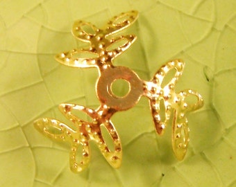 20 gold 3 prong leaves bead cap end findings caps leaf fall branches branch wrap fancy 14mm - C0588-20