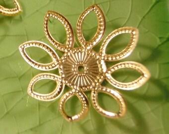 20 gold flower filigree leaves bead cap end findings flowers caps leaf fall wrap fancy 21mm - C0589-20