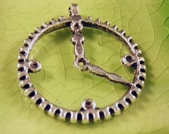 5 silver clock gear charms pendants gears steampunk time timepiece watch Alice wonderland rabbit 35mm x 30mm - C0606-5