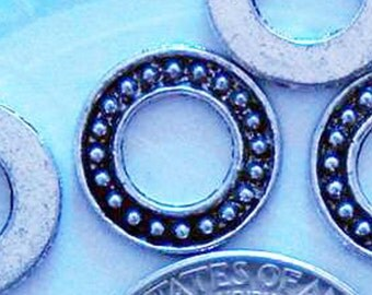 10 silver round washer charms pendants circle dot dotted bumpy bulk 14mm - C0170-10