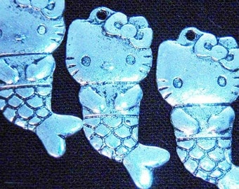10 silver Hello Kitty mermaid charms pendants cat kitten kitteh fish ocean beach sea seaside tail 32mm x 16mm - C0080-10