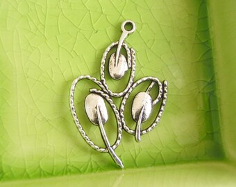 5 silver abstract flower tulips charms pendants tulip flowers flowering branches plant mother nature 40mm x 26mm - C0710-5