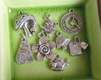 8 different charms pendants Alice in Wonderland Collection set clock white rabbit Cheshire cat tea bag set teapot mushroom flower - P0012-8