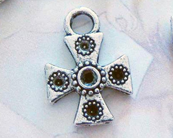 10 silver iron cross charms pendants crosses double sided with holes for stones religious spiritual 18mm x 13mm - C0195-10