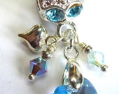 Aquamarine AB Swarovski Crystal Dangle Charm or Pendant