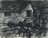 Rural Barn, charcoal drawing - 'Rusting away'. Limited Edition print one of only 25. FREE postage