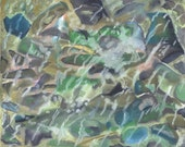 Cool, Abstract and Romantic ' Stream Pebbles' Oil Pastel painting. Limited Edition Print one of only 25. FREE postage
