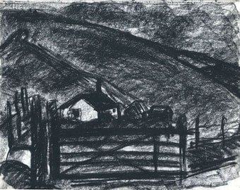 Dark and brooding. Graphic charcoal drawing. 'Nestled in the Valley'. Limited Edition Print one of only 25. FREE World postage