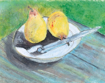 Two Pears Oil Pastel drawing. Tranquil Fruit Still life. Limited Edition print one of 25. FREE world postage