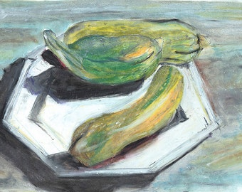 Elegant vegetable still life  'Three Courgettes'. Oil Pastel drawing. Limited Edition print one of 25. FREE World postage