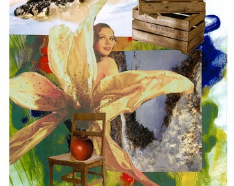 Golden Lady Lily loves Croc Rock. Collage - Limited edition print one of only 25. FREE WORLD SHIPPING