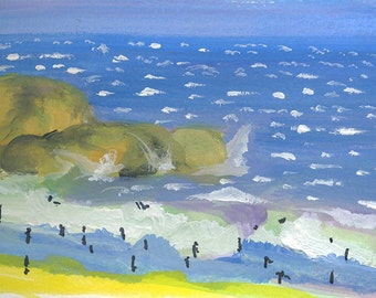Dipping at Fisherman's Beach, fun in the sun. Limited Edition Print one of only 25. FREE WORLD SHIPPING