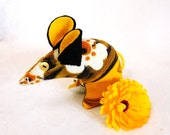 Retro ReBorn Mouse - vintage fabric , 60s Daisy , Yellow and Orange