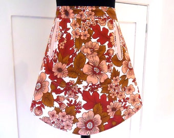 retro 70s vintage fabric apron - funky pink flower design