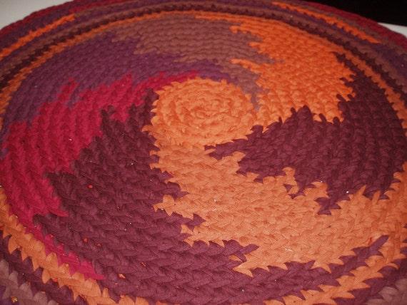 Fall Colors Round Rag Rug Recycled T Shirt Yarn Custom Made