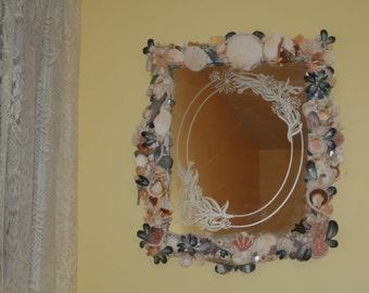 Coastal Shores Vintage Etched Framed Mirror with Sea Shells