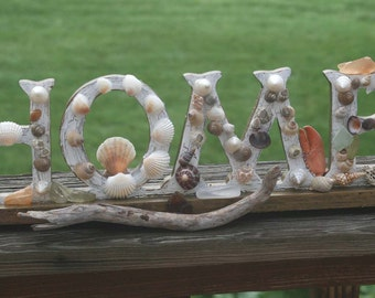 Coastal Shores Sea Shell HOME Sign Decor