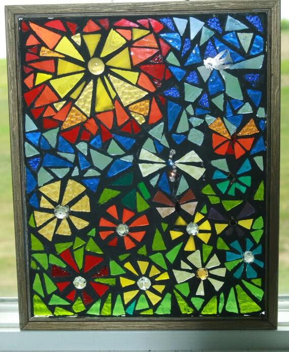 SALE Unique Abstract SECRET GARDEN Mosaic Stained Glass Art Sun Catcher