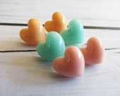 A trio of heart earrings - post backs - minty green, peach and soft pink