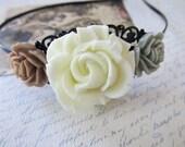 Wedding flower headband - Floral black filigree headband in creamy ivory, mocha brown and grey