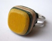Recycled Skateboard Adjustable Ring - Yellow