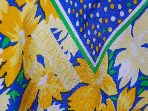 Vintage Givenchy Paris Silk Large Scarf Yellow Floral Border Navy Blue Confetti Center Hand Rolled Edges Pristine on Etsy