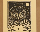 SPOTTED OWL - One linoleum block printed blank notecard - PICK YOUR COLORS