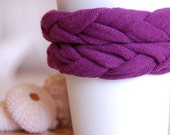 UPCYCLED DOUBLE BRAIDED CASHMERE CUP COZY / plum