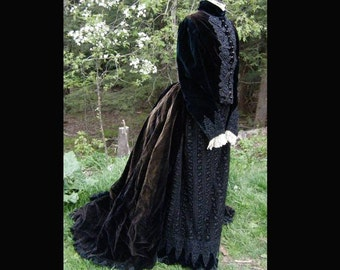 Vintage Antique Victorian c1870 Velvet Lace Dress Jet Beading STEAMPUNK Goth