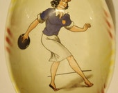 Vintage Bowling Bowl 60s Kitsch Brunette Pin Up Bowler