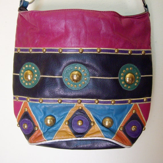 Vintage Colorful Studded Bucket Bag