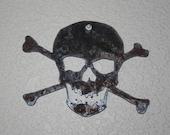 Rustic Recycled Steel Skull and Cross Bones Metal Skull decor Custom steel Skull