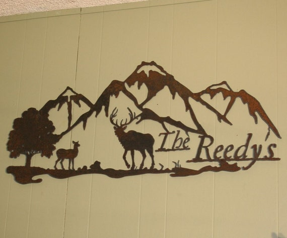 signs address  sign Mountain welcome  CUSTOM address  Rustic Scene name custom rustic Recycled Metal