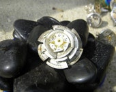 Vintage Watch Face Flower Ring, steampunk clock gears silver brass