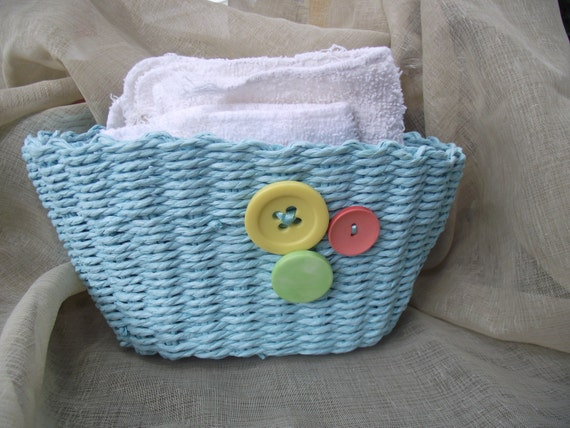 JUTE BASKET Robins Egg Blue Lime, Pink and Yellow Button Soft sided Organizer Kitchen Bath Crafts